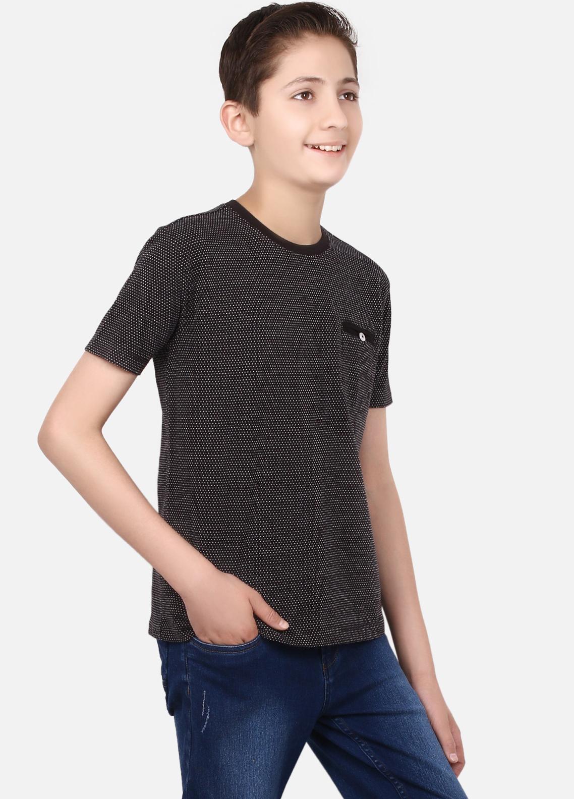 Edenrobe Cotton Half Sleeves Tees for Boys - Black EBTTS19-020