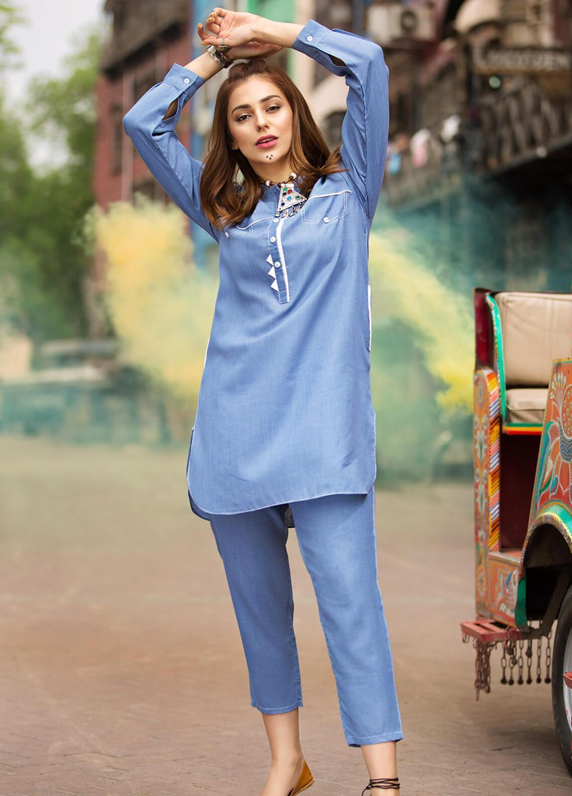 Edenrobe Embroidered Cotton Stitched 2 Piece Suit 066851