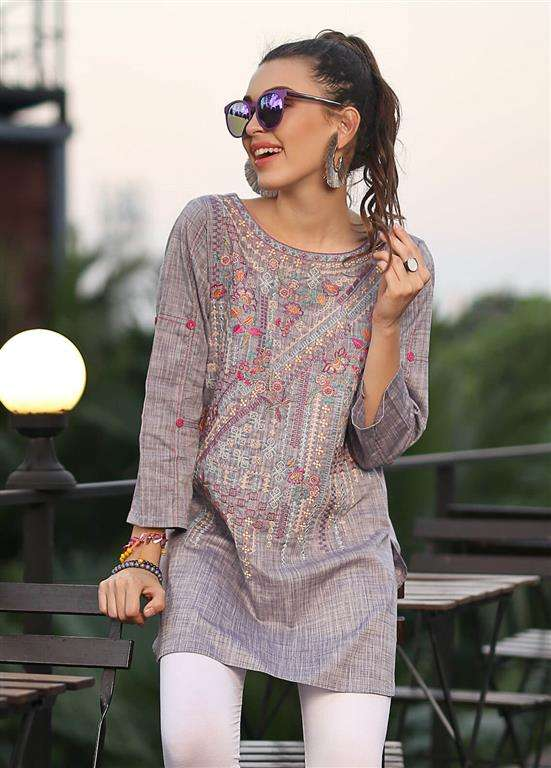 Edenrobe Embroidered Cotton Stitched Kurtis ELTKE19-66616