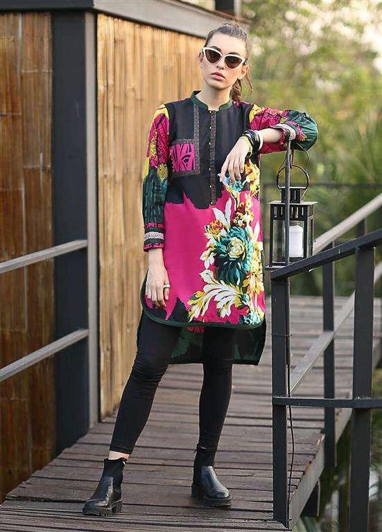 Edenrobe Embroidered Cotton Stitched Kurtis ELTKP19-66580
