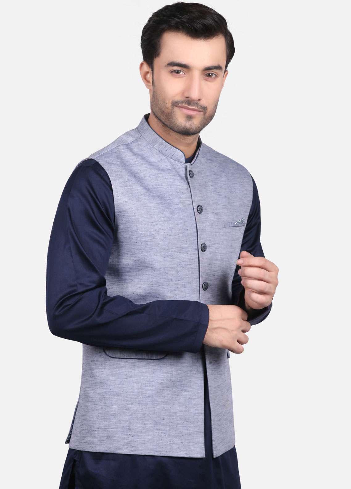 Edenrobe Jacquard Formal Waistcoats for Men - Blue EMTWC-35663