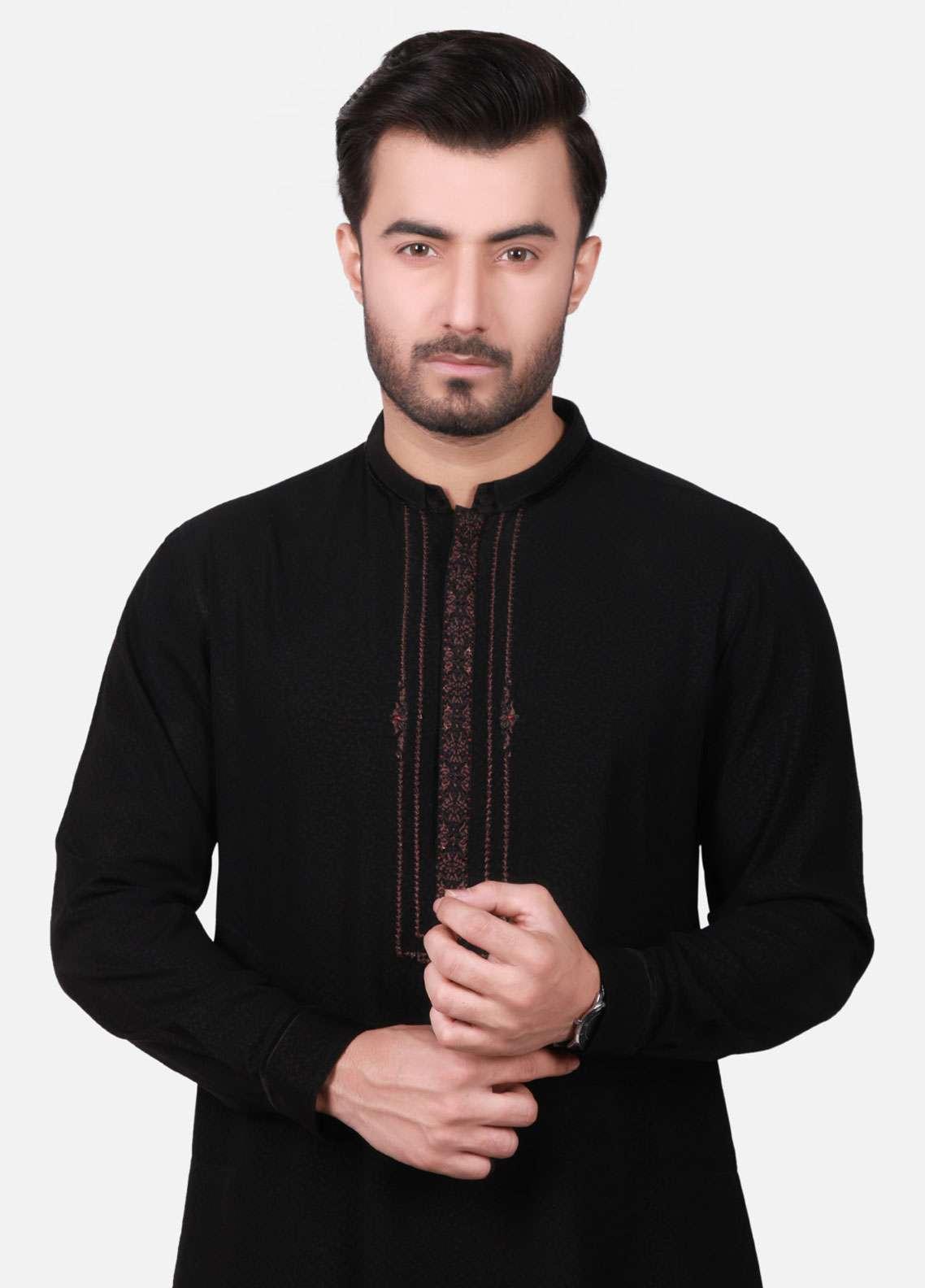 Edenrobe Cotton Formal Kameez Shalwar for Men - Black EMTKC18-010