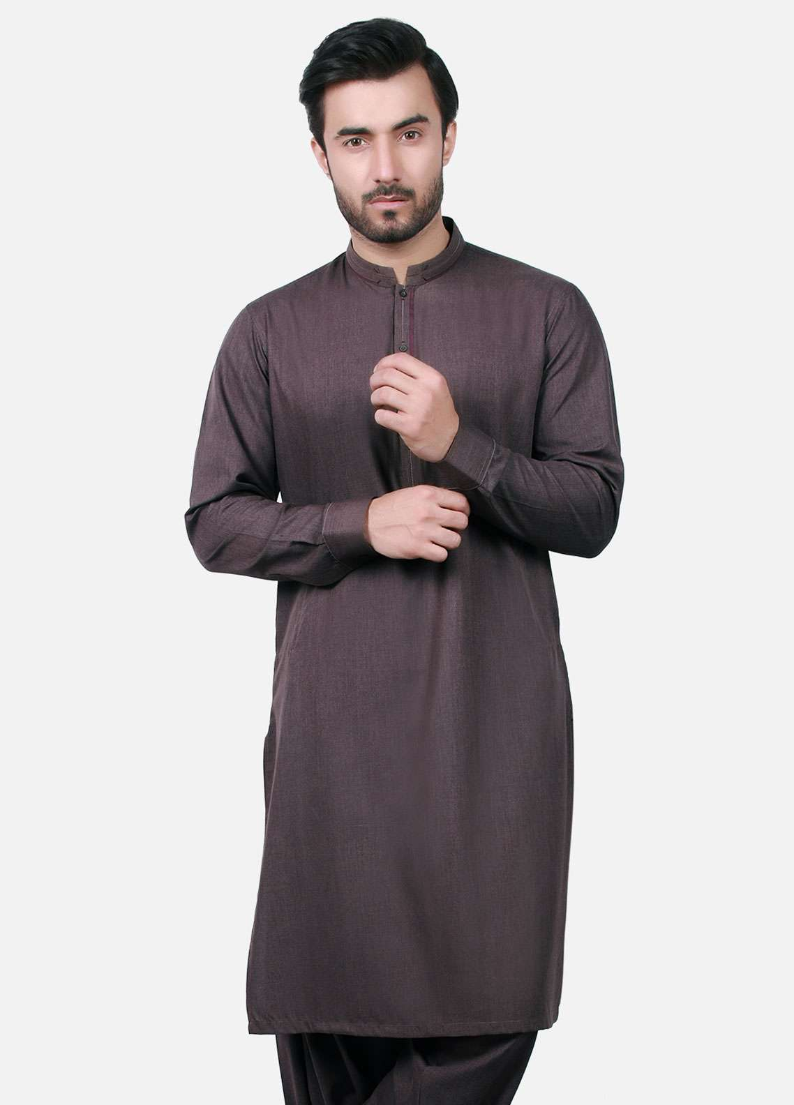Edenrobe Cotton Formal Kameez Shalwar for Men - Burgundy EMTKS-40685