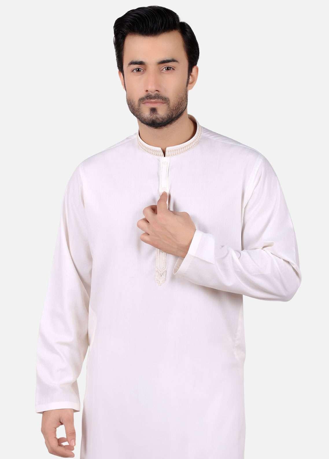 Edenrobe Cotton Formal Men Kameez Shalwar - Cream EMTKS-40686