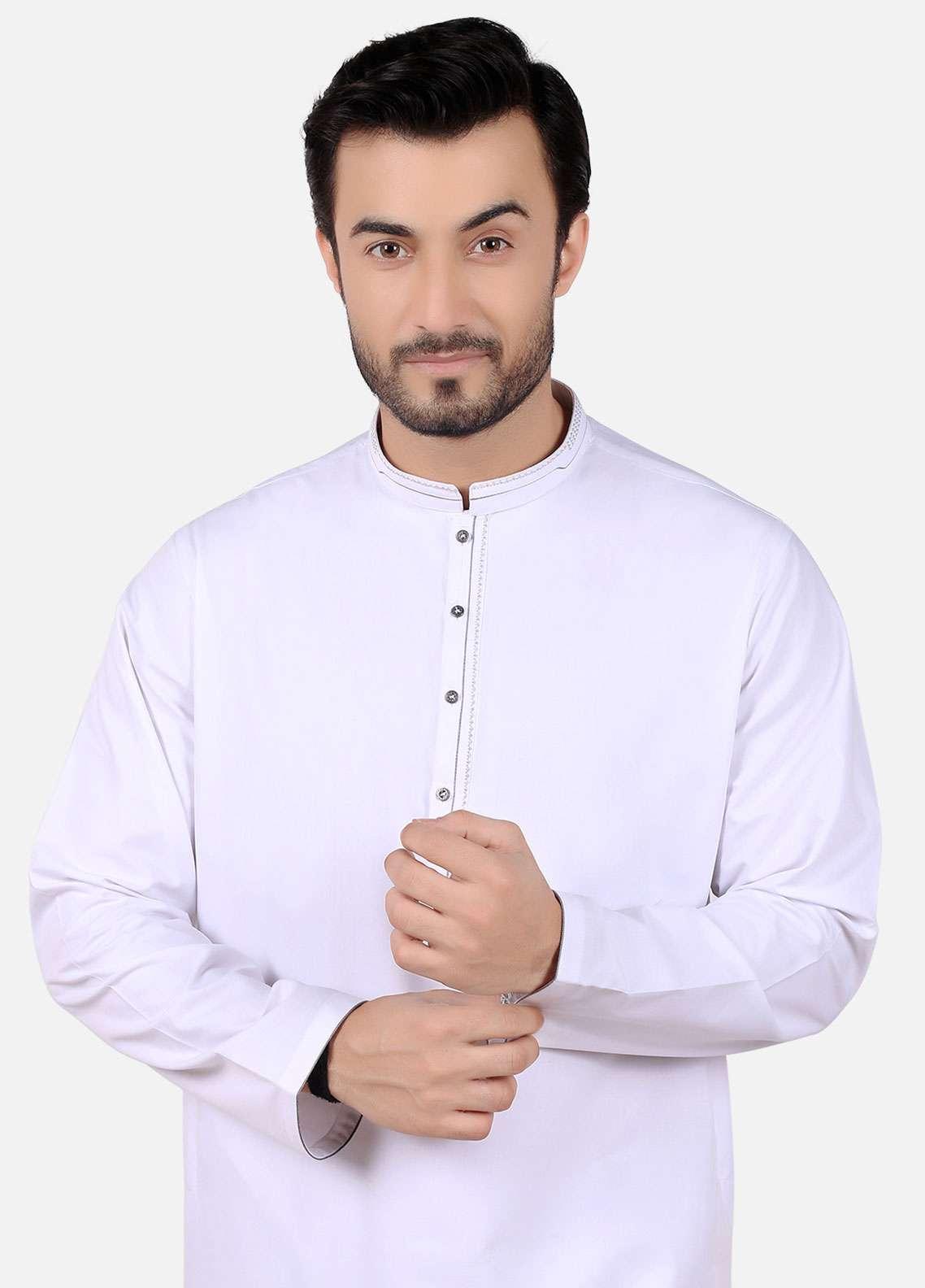 Edenrobe Cotton Formal Kameez Shalwar for Men - White EMTKS-40695