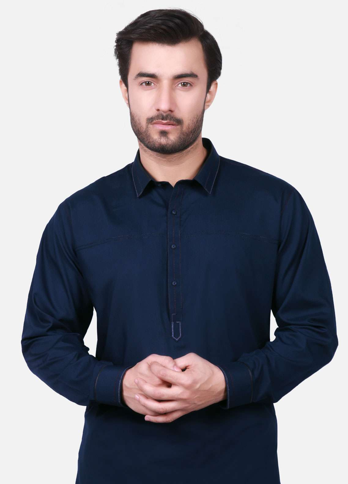 Edenrobe Cotton Formal Men Kameez Shalwar - Navy Blue EMTKS-40700