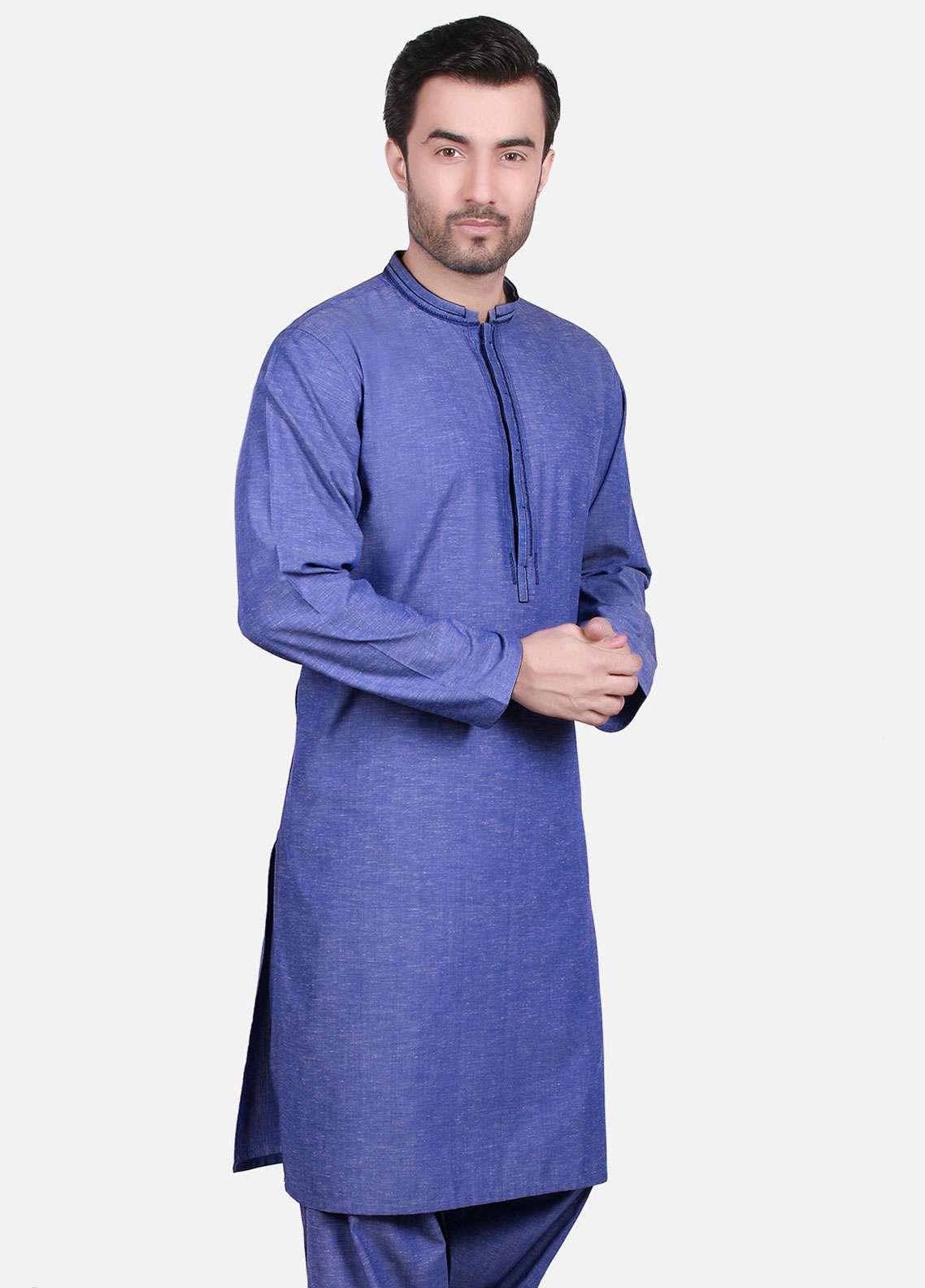Edenrobe Cotton Formal Kameez Shalwar for Men - Blue EMTKS-40701