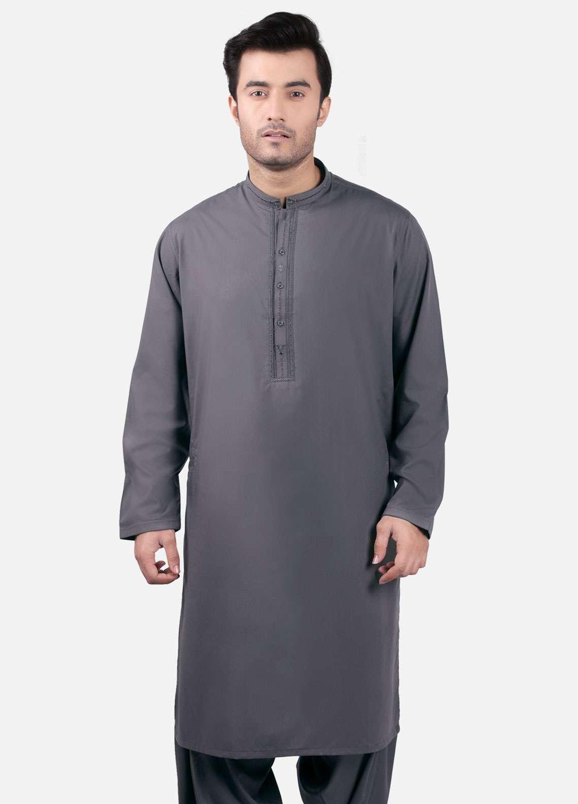 Edenrobe Cotton Formal Men Kameez Shalwar - Grey EMTKS-40703