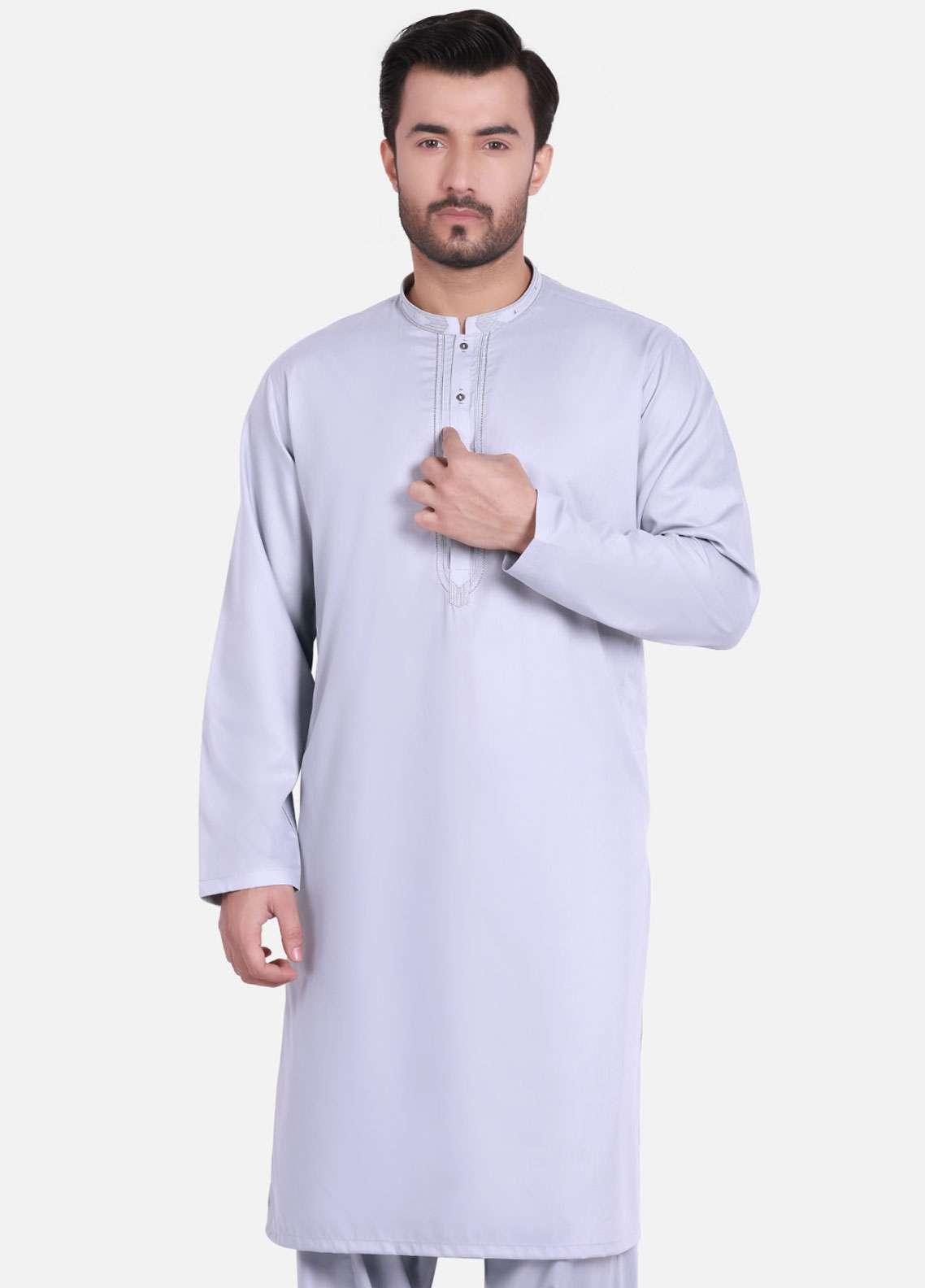 Edenrobe Cotton Formal Kameez Shalwar for Men - Ash Grey EMTKS-40705