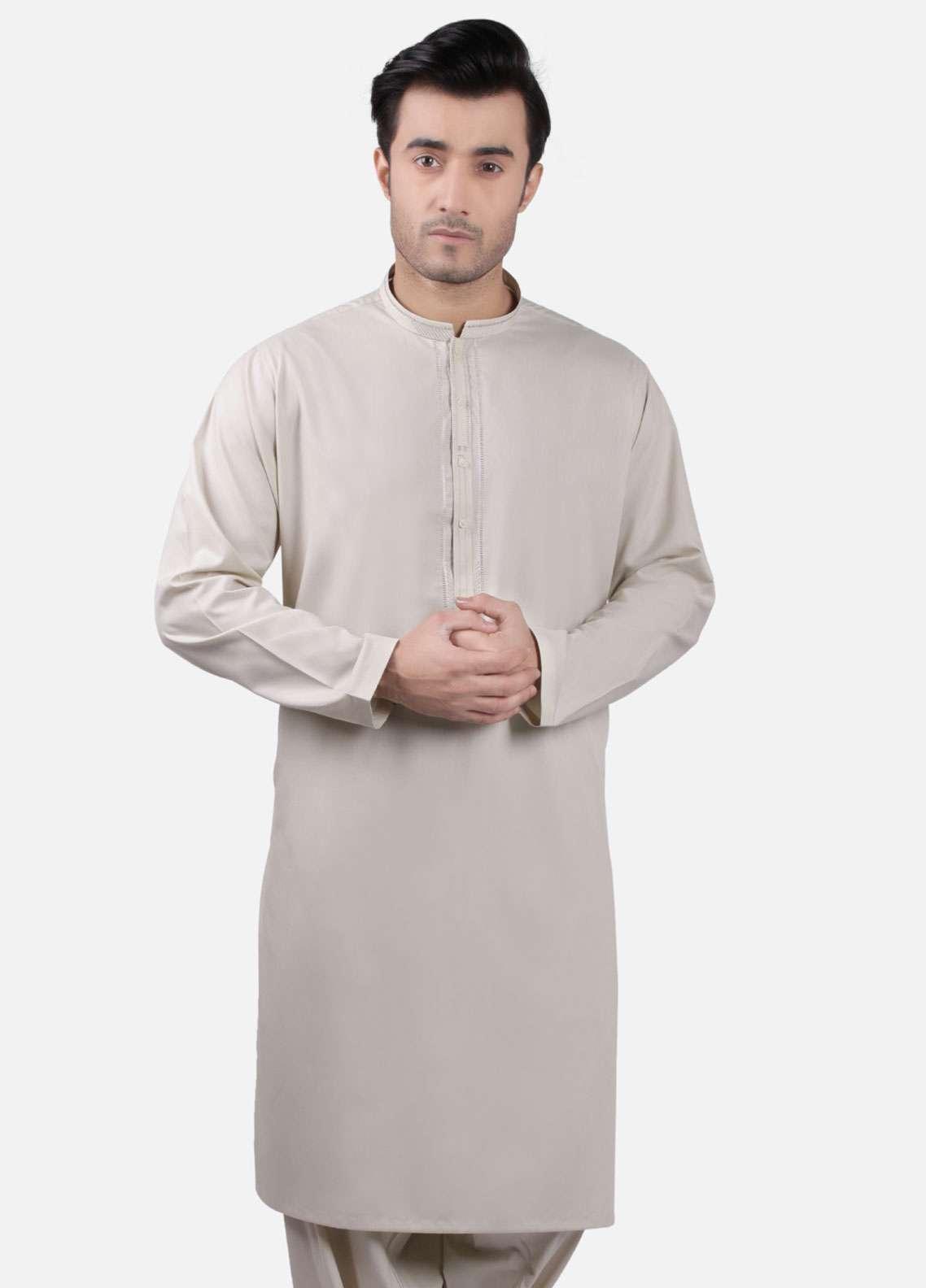 Edenrobe Cotton Formal Men Kameez Shalwar - Beige EMTKS-40709