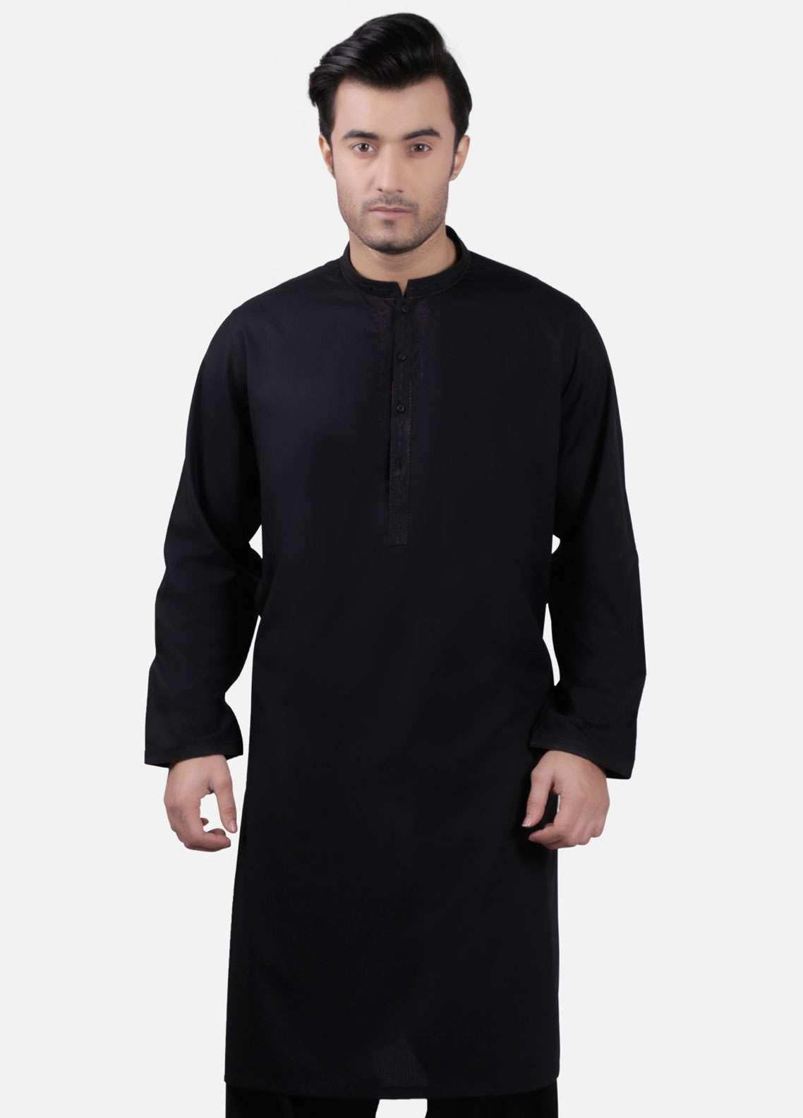 Edenrobe Cotton Formal Kameez Shalwar for Men - Black EMTKS-40713