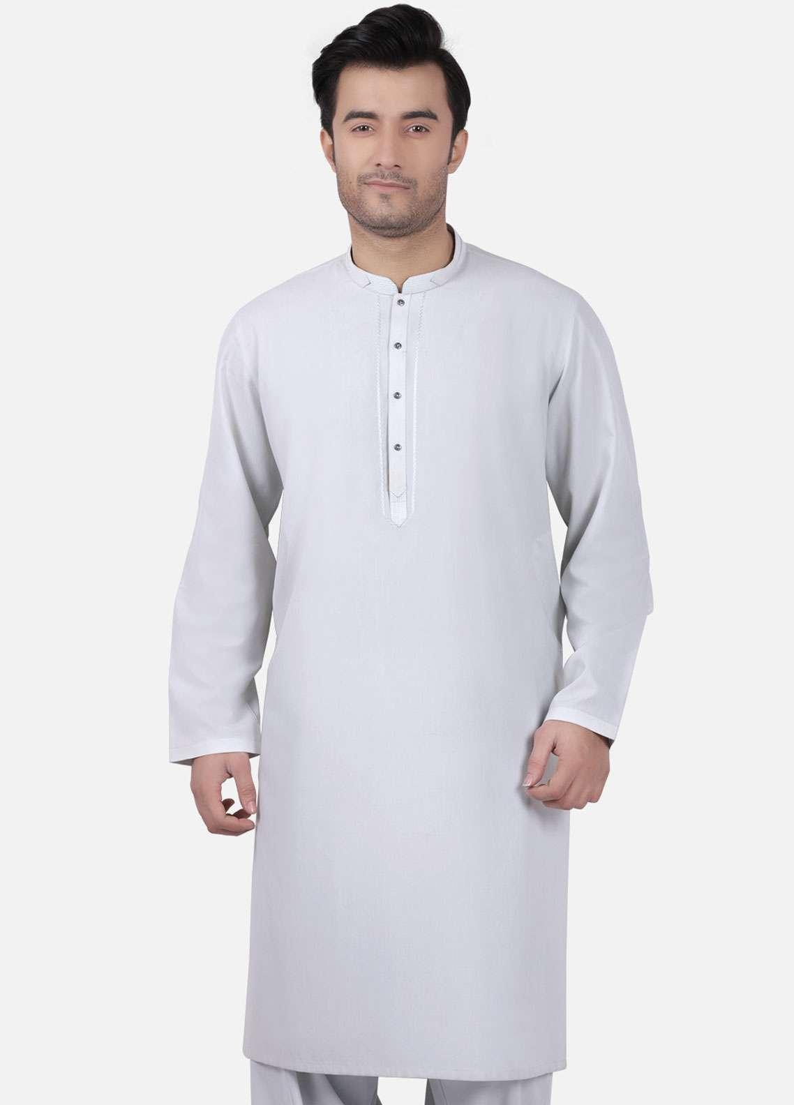 Edenrobe Cotton Formal Men Kameez Shalwar - Ice Green EMTKS-40723