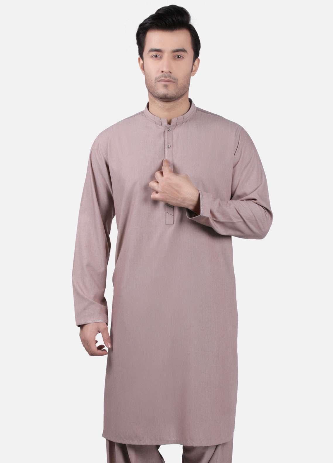 Edenrobe Cotton Formal Kameez Shalwar for Men - Brown EMTKS-40726
