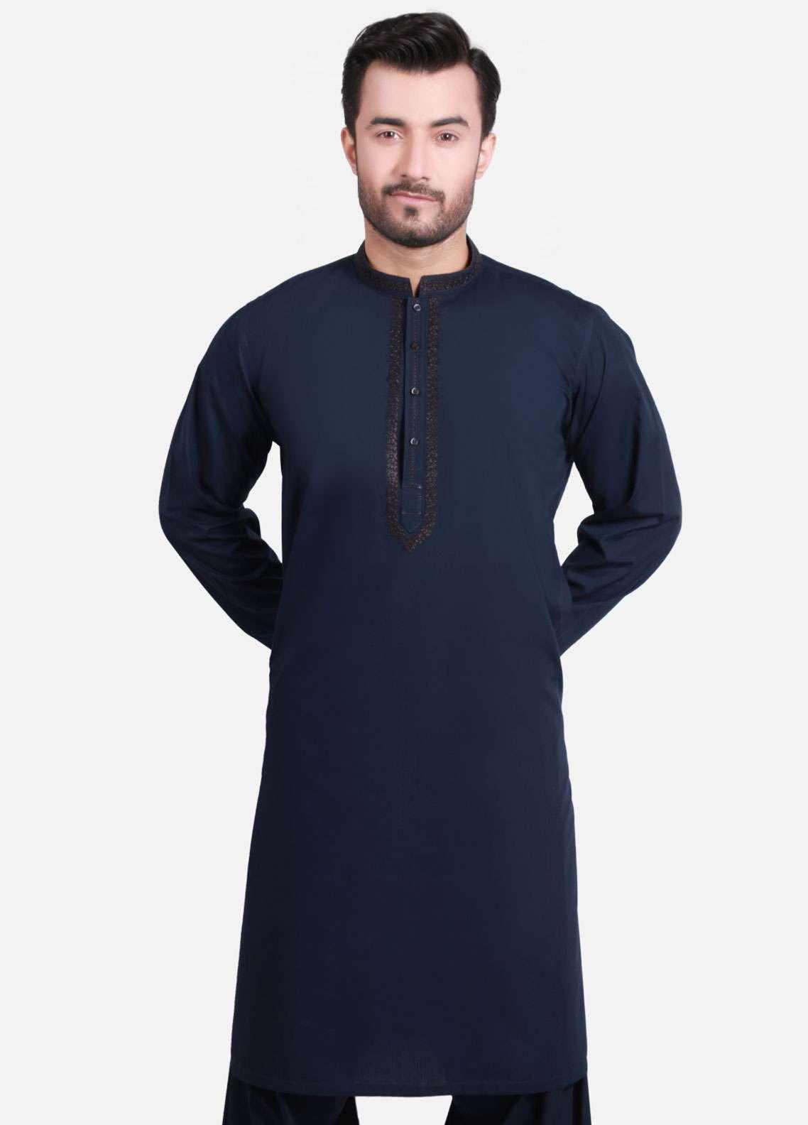 Edenrobe Cotton Formal Men Kameez Shalwar - Navy Blue EMTKS-40728