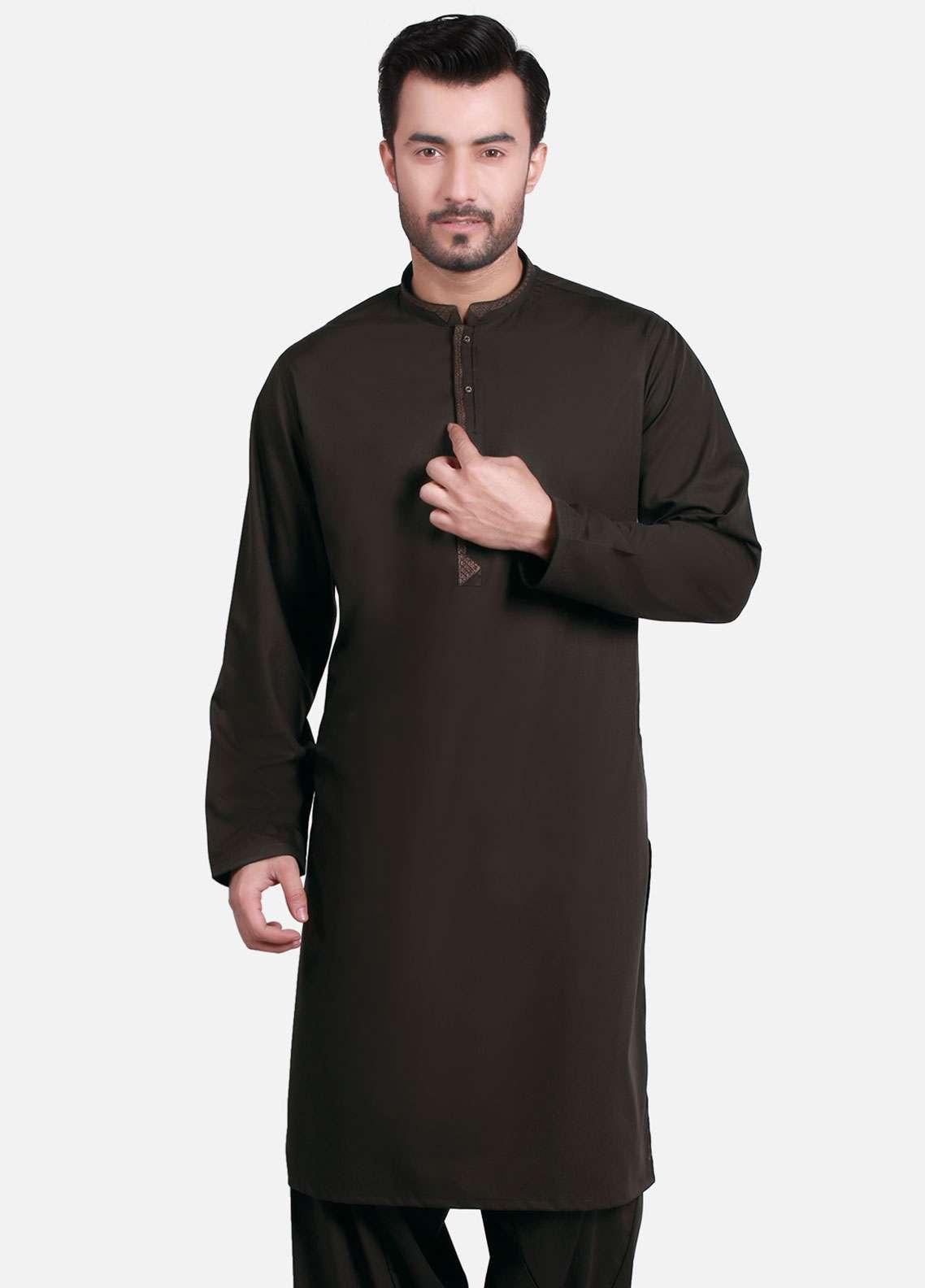 Edenrobe Cotton Formal Kameez Shalwar for Men - Chocolate EMTKS-40729