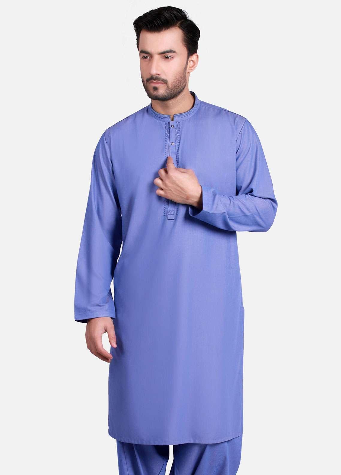 Edenrobe Cotton Formal Men Kameez Shalwar - Blue EMTKS-40730