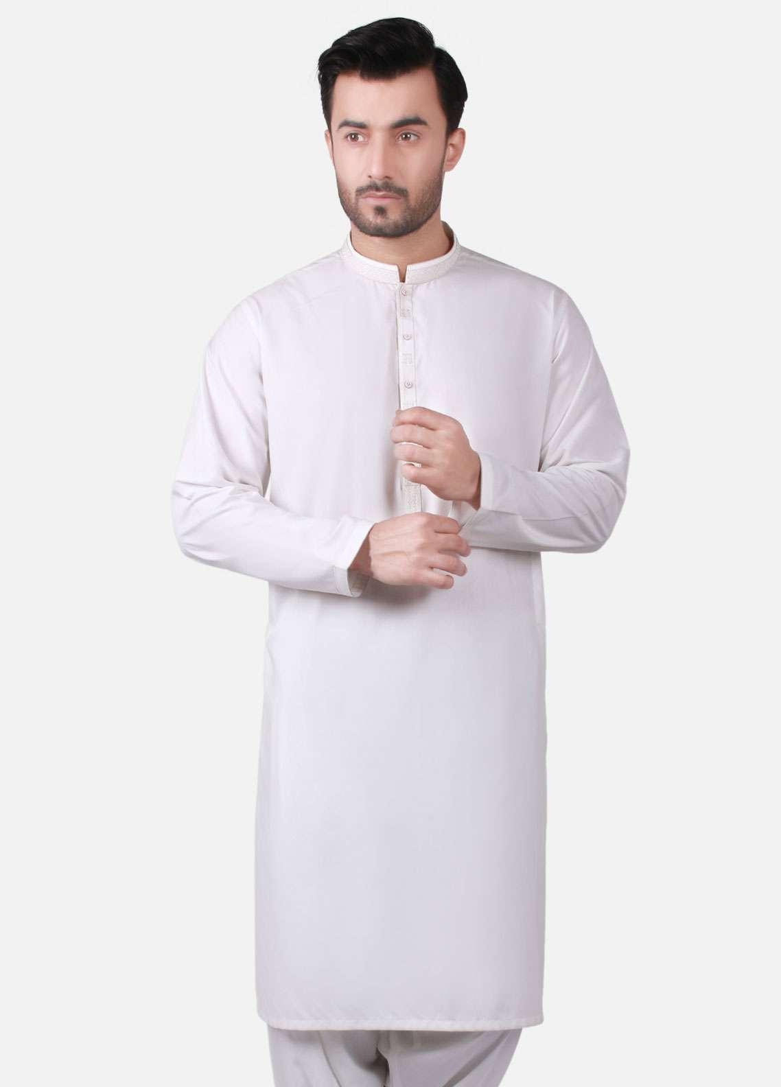 Edenrobe Cotton Formal Kameez Shalwar for Men - Off White EMTKS-40731
