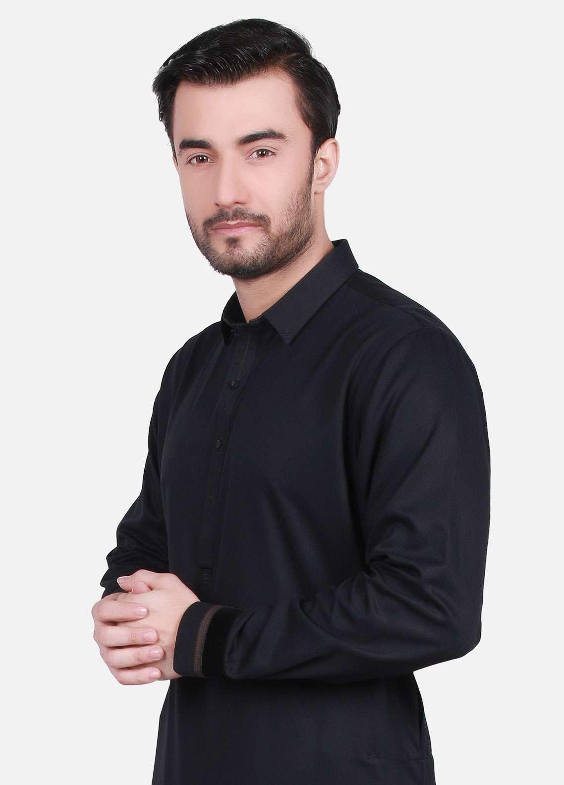 Edenrobe Cotton Formal Men Kurta Shalwar - Black EMTSW19S-9707