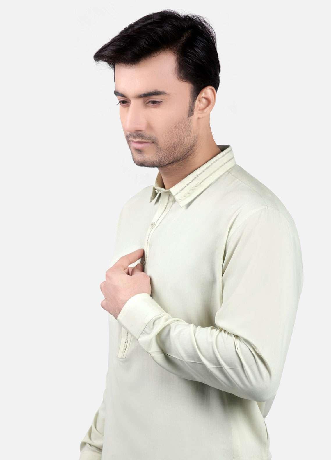 Edenrobe Cotton Formal Kurta Shalwar for Men - Cream EMTSW19S-9748