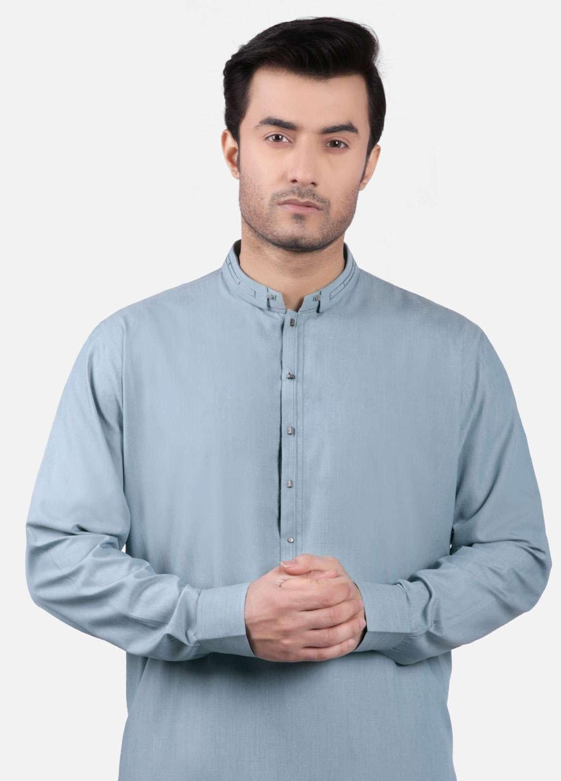 Edenrobe Cotton Formal Men Kurta Shalwar - Sea Green EMTSW19S-9750