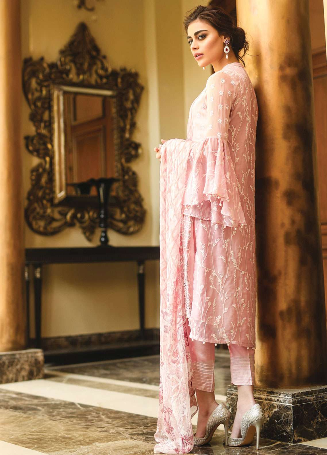 Edenrobe Embroidered Chiffon Unstitched 3 Piece Suit 019408 - Wedding Collection