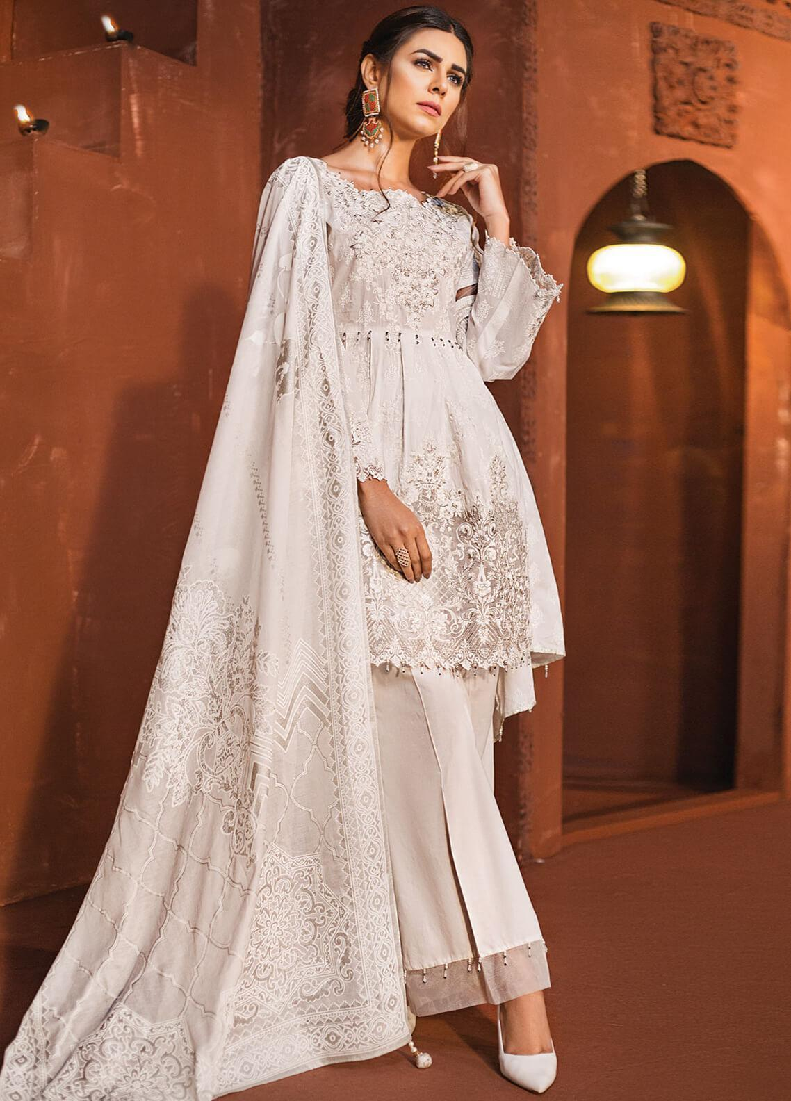 Edenrobe Embroidered Cambric Unstitched 3 Piece Suit 019687 - Festive Collection