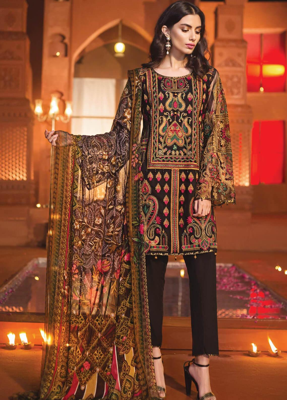 Edenrobe Embroidered Zari Net Unstitched 3 Piece Suit 019692 - Festive Collection