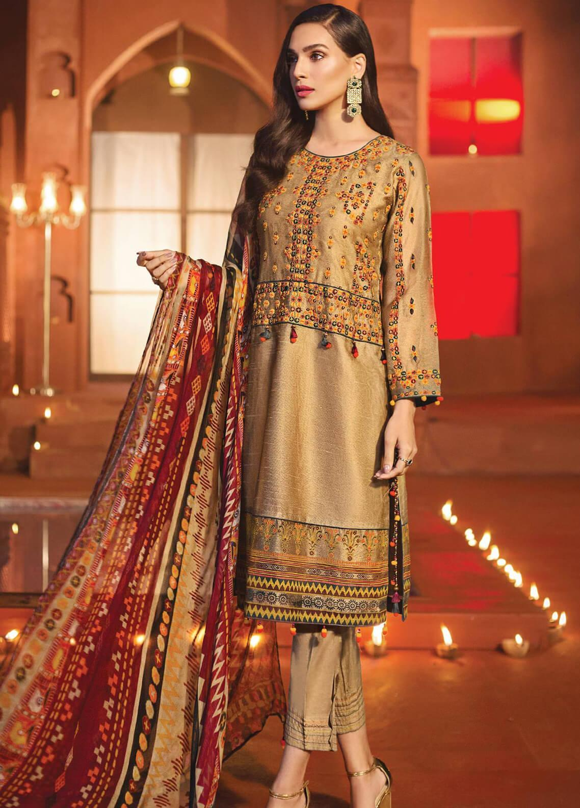 Edenrobe Embroidered Khaadi Net Unstitched 3 Piece Suit 019716 - Festive Collection