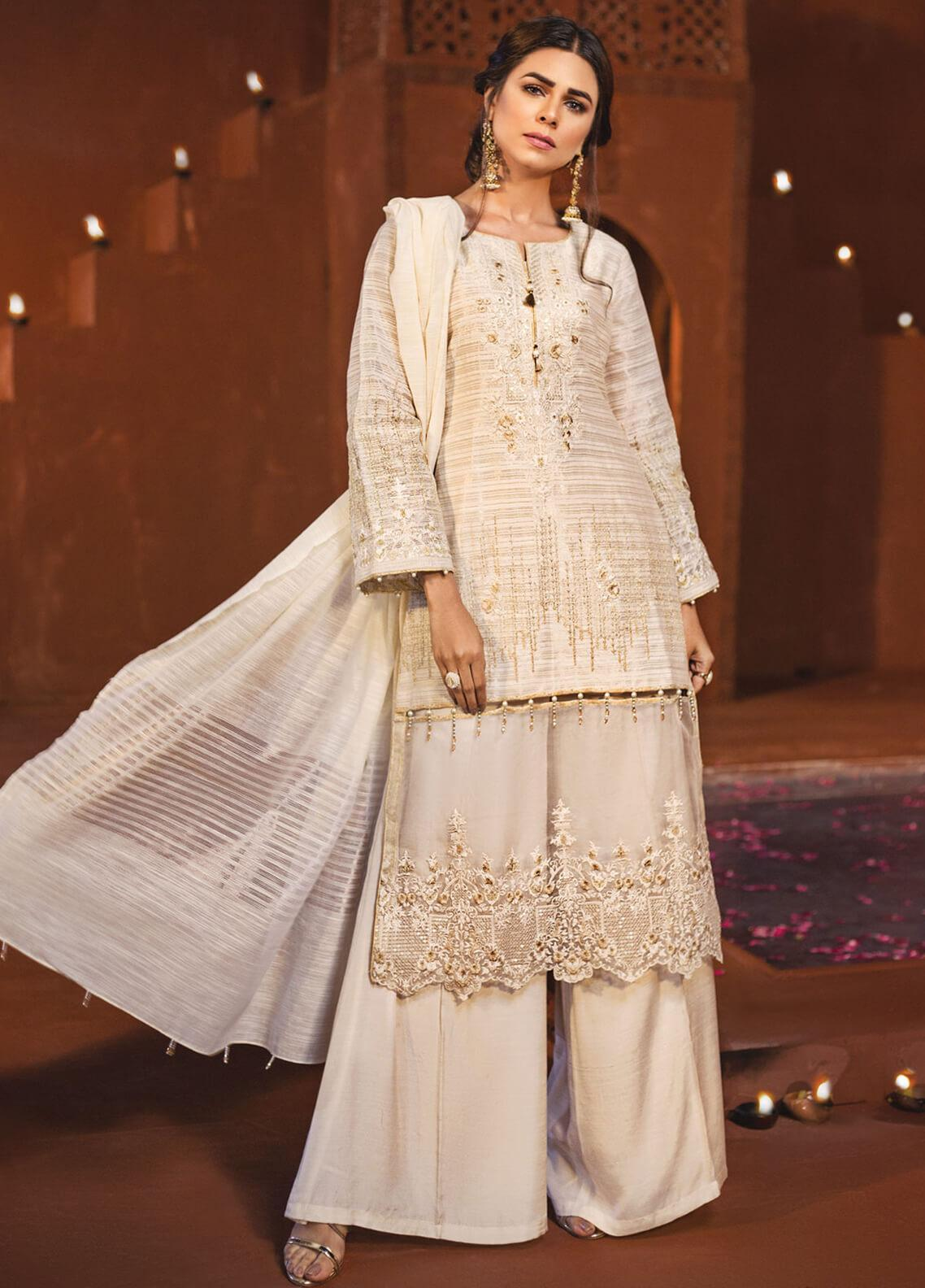 Edenrobe Embroidered Khaadi Net Unstitched 3 Piece Suit 019795 - Festive Collection