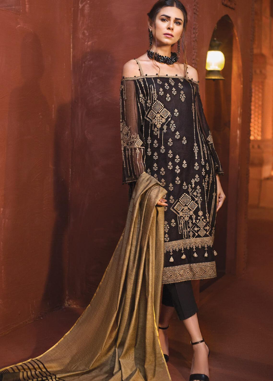 Edenrobe Embroidered Khaadi Net Unstitched 3 Piece Suit 019800 - Festive Collection