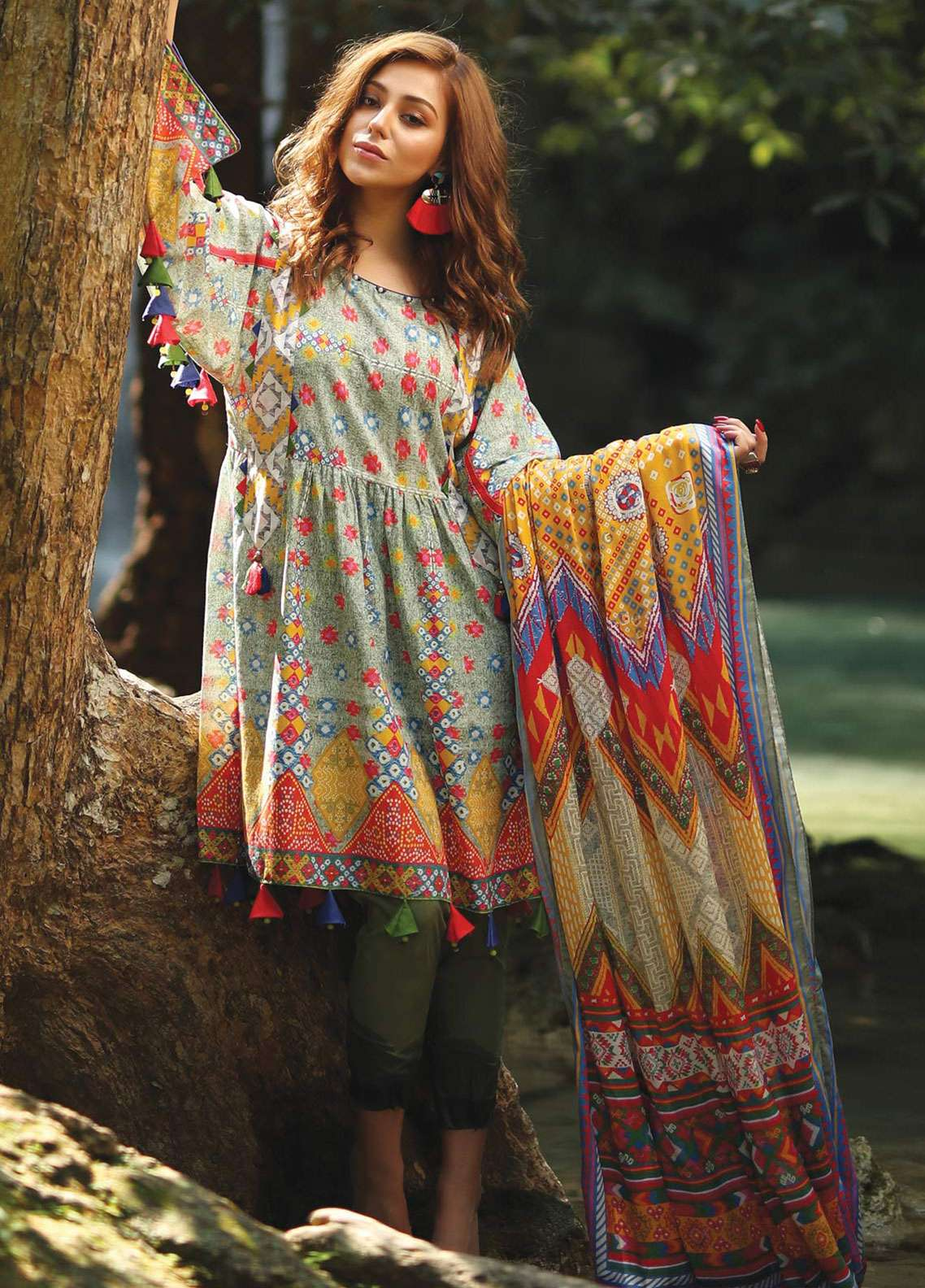 Edenrobe Printed Lawn Unstitched 2 Piece Suit 019548 - Spring / Summer Collection