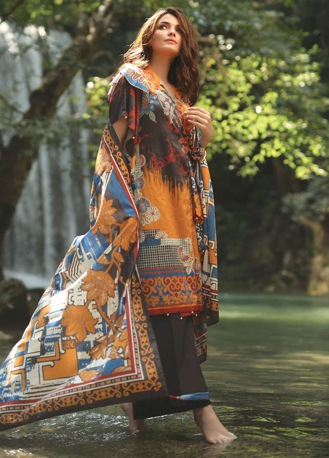 Edenrobe Printed Lawn Unstitched 2 Piece Suit 019553 - Spring / Summer Collection