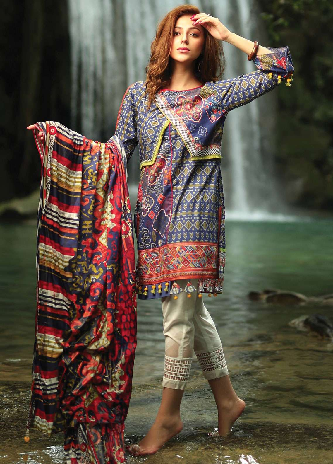 Edenrobe Embroidered Lawn Unstitched 2 Piece Suit 019566 - Spring / Summer Collection