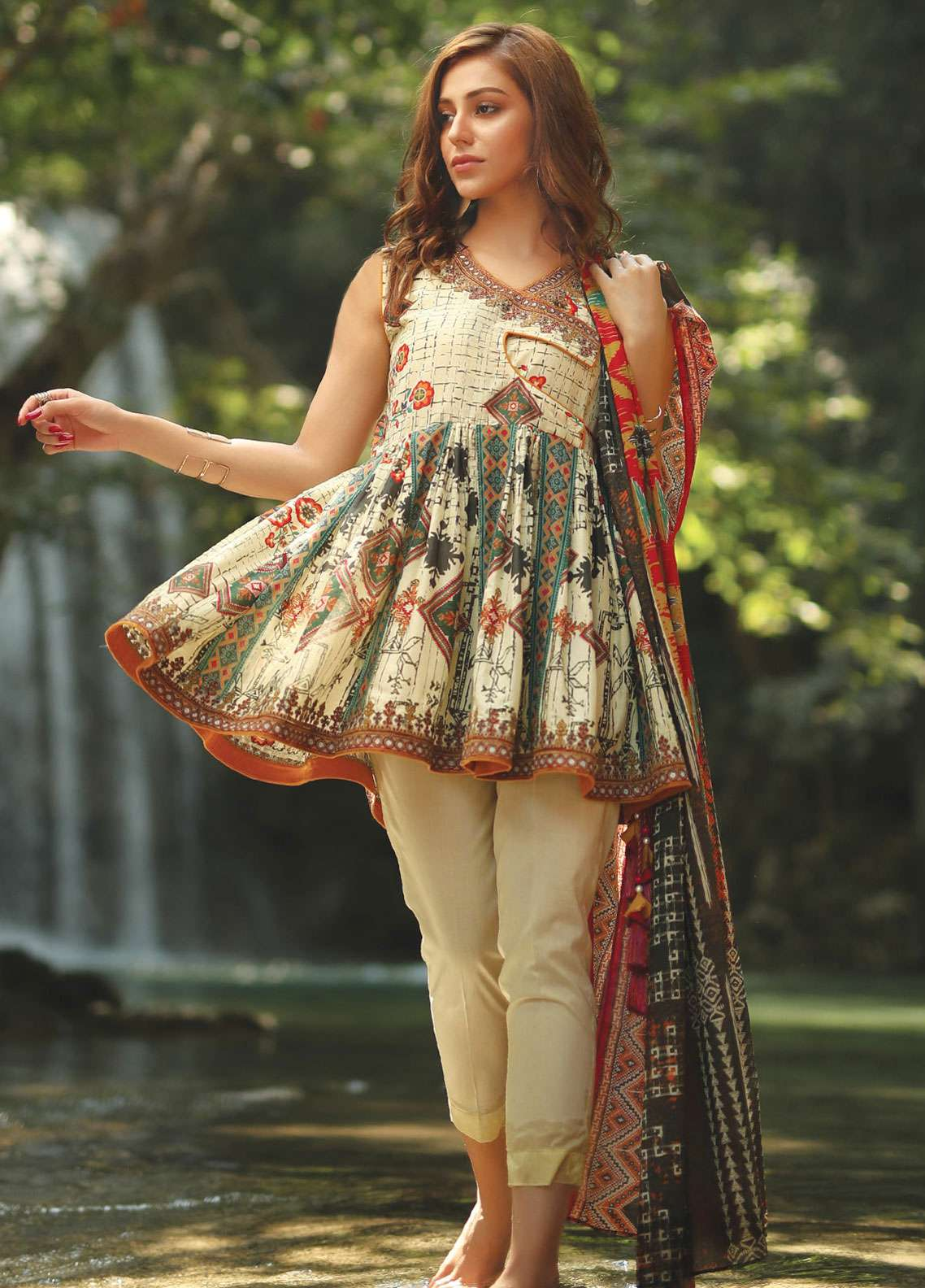 Edenrobe Embroidered Lawn Unstitched 2 Piece Suit 019587 - Spring / Summer Collection