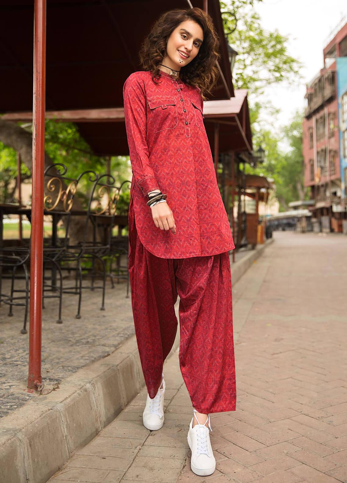 Edenrobe Embroidered Cotton Stitched 2 Piece Suit 066835