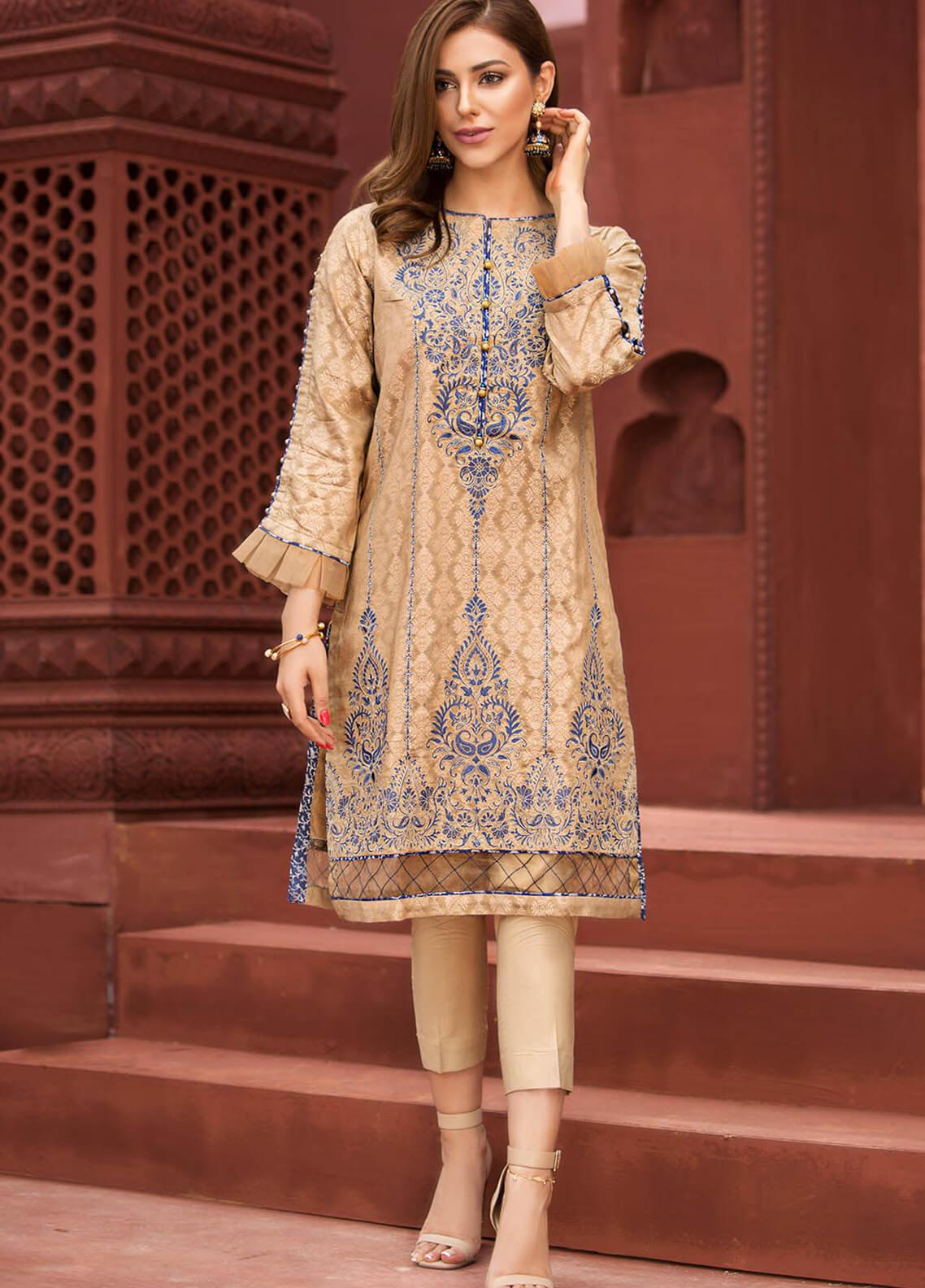 Edenrobe Embroidered Jacquard Stitched Kurtis 066335