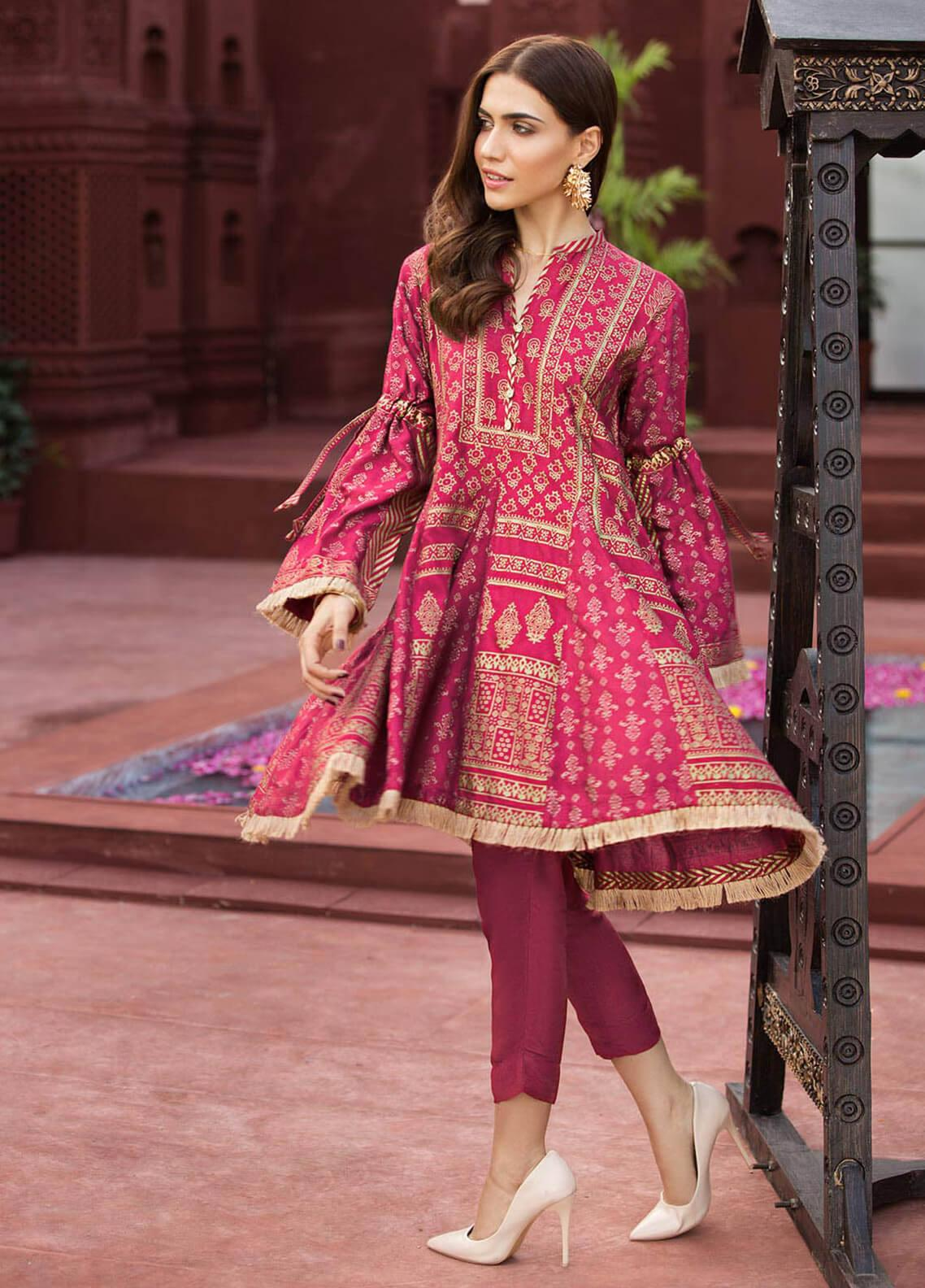 Edenrobe Embroidered Cotton Net Stitched Kurtis 066453