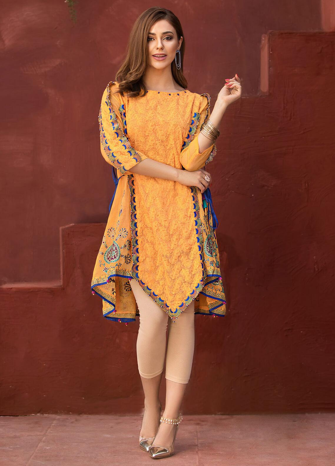 Edenrobe Embroidered Cotton Net Stitched Kurtis 066569