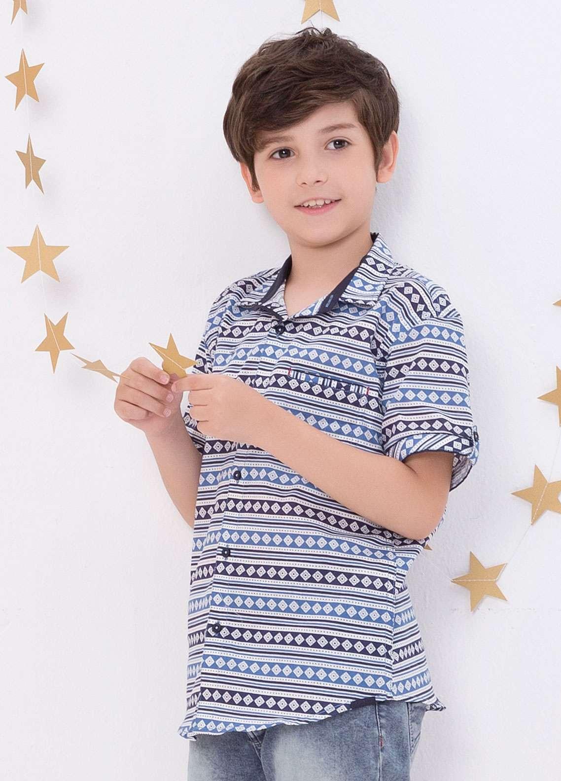 Edenrobe Cotton Casual Shirts for Boys - Blue EDK18CS 27178