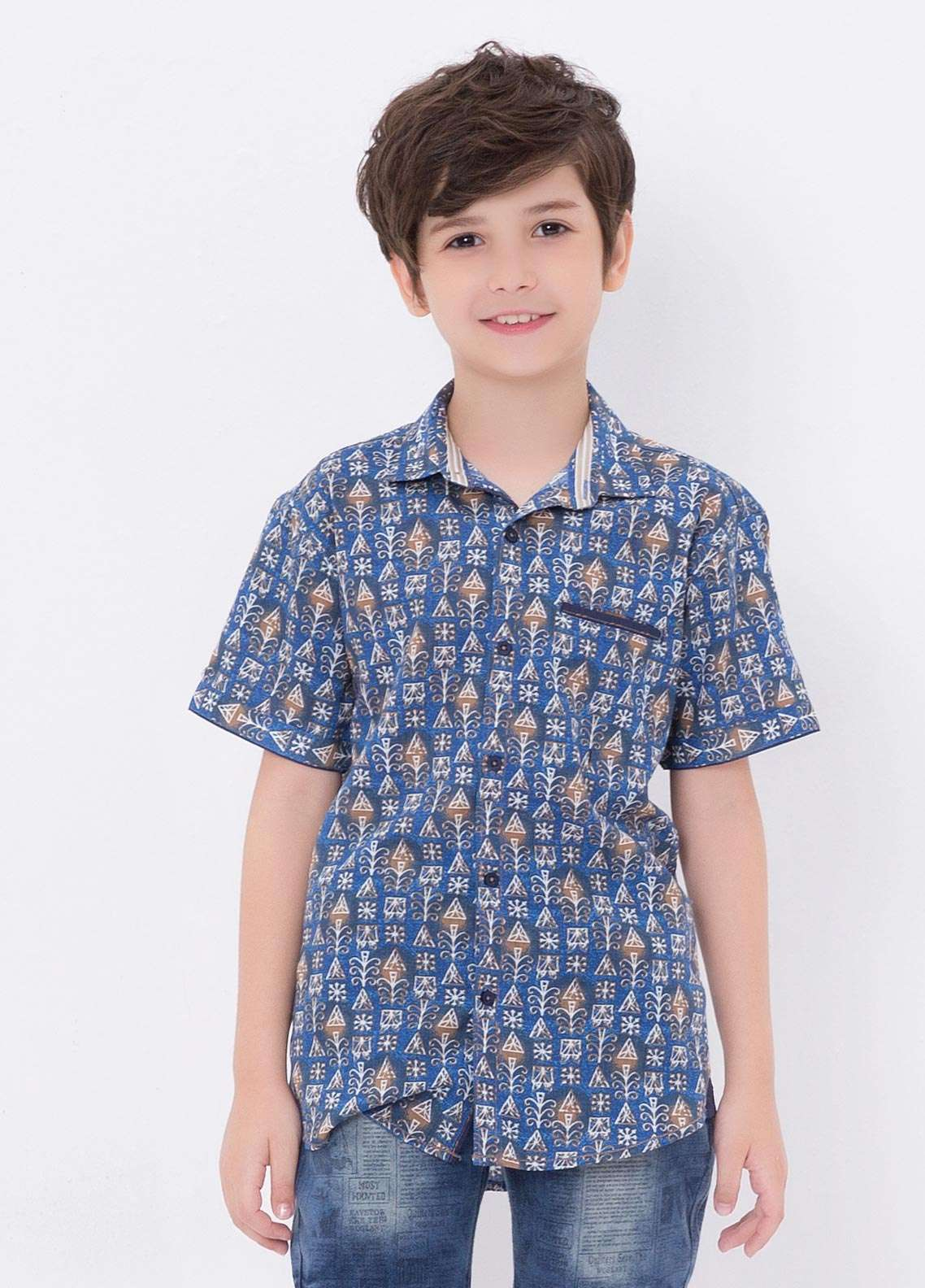 Edenrobe Cotton Casual Boys Shirts - Blue EDK18CS 27181