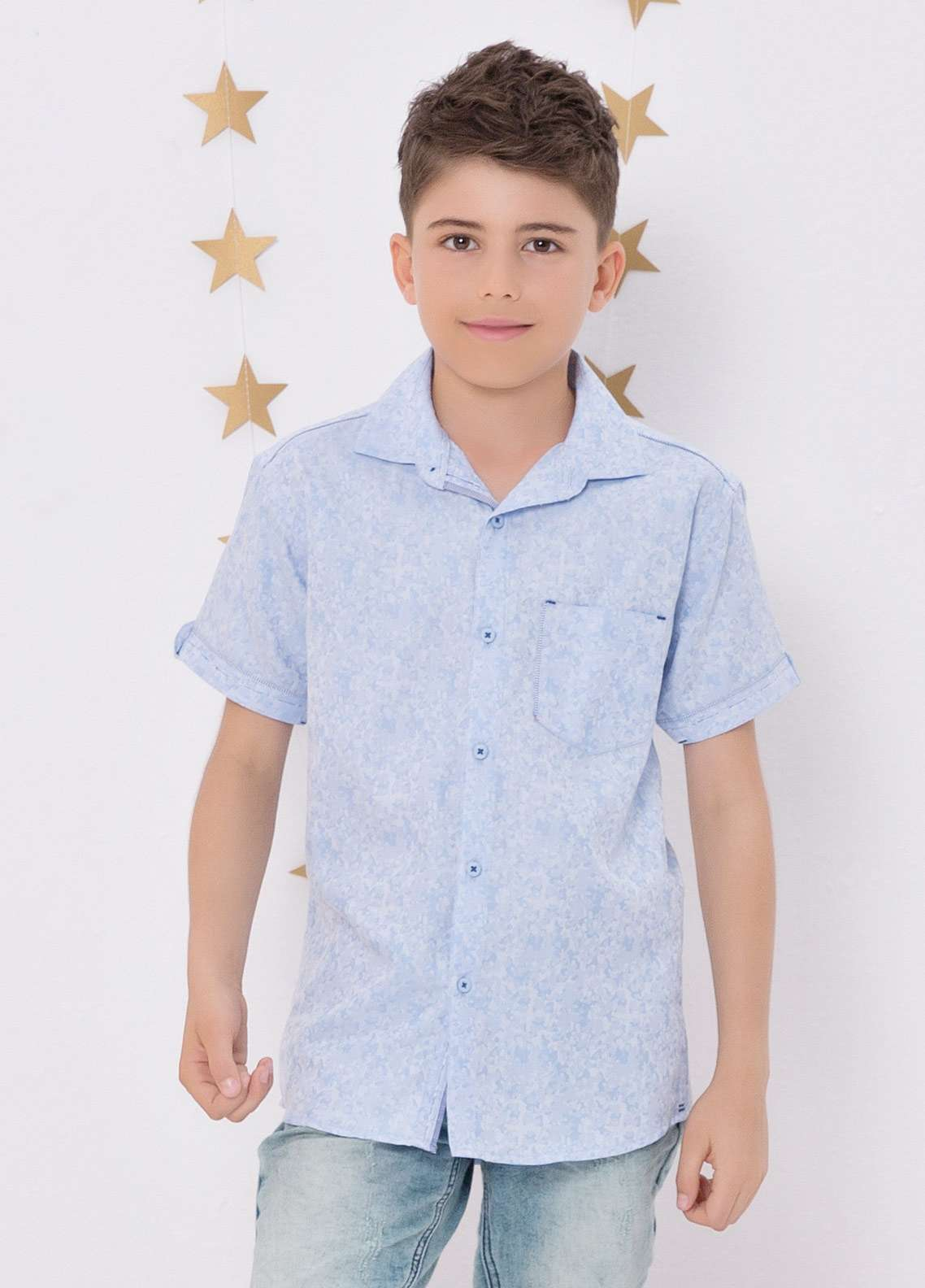 Edenrobe Cotton Casual Boys Shirts - Blue EDK18CS 27183