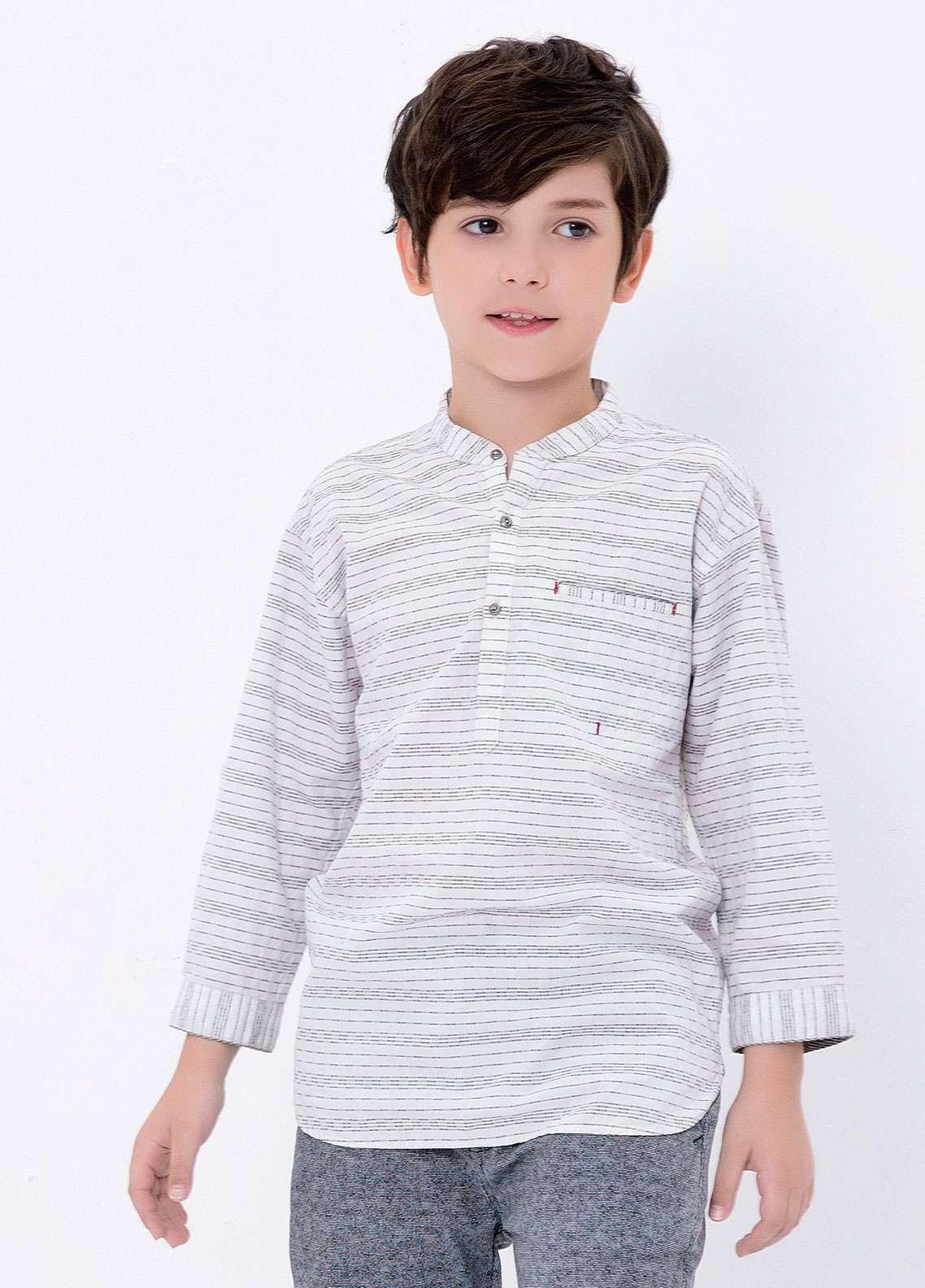 Edenrobe Cotton Casual Shirts for Boys - White EDK18CS 27184