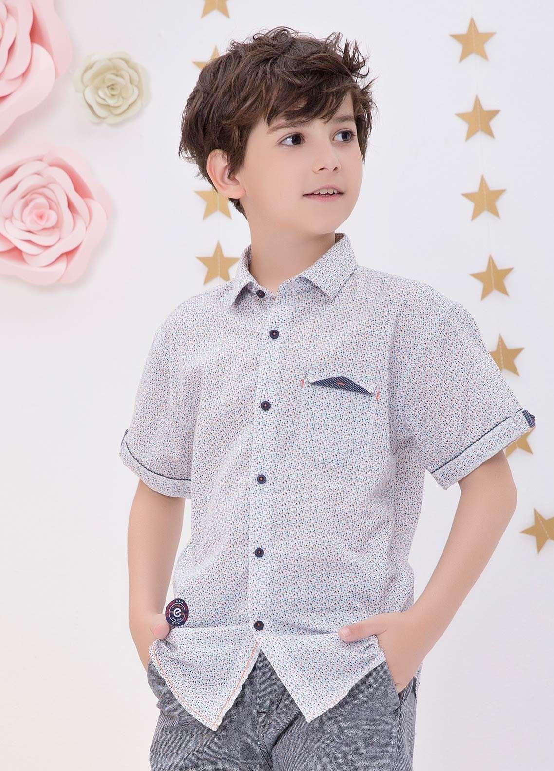 Edenrobe Cotton Casual Boys Shirts - Blue EDK18CS 27187
