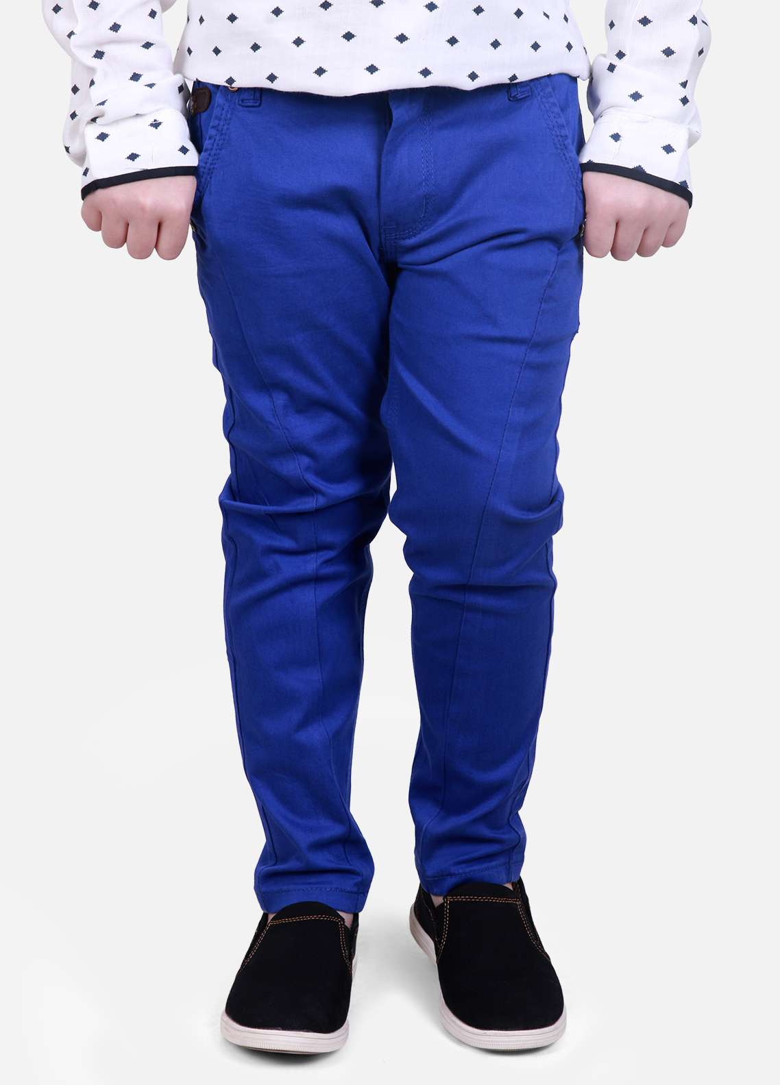 Edenrobe Cotton Plain Texture Boys Pants - Royal Blue EDK18P 24053