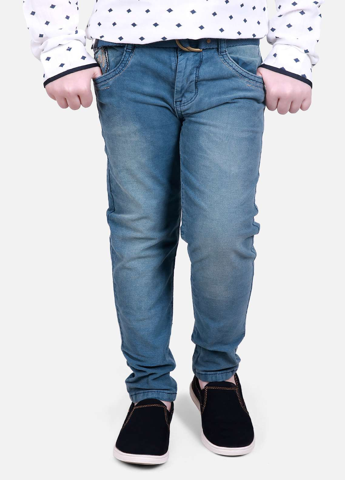 Edenrobe Jeans Plain Texture Pants for Boys - Blue EDK18P 5691
