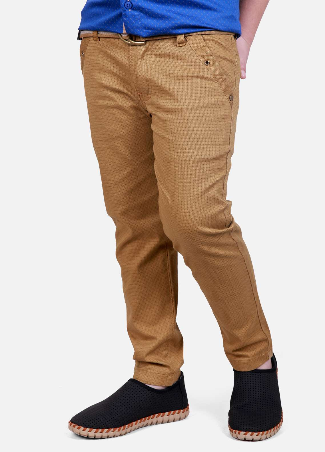 Edenrobe Cotton Plain Texture Boys Pants - Golden EDK18P 5702