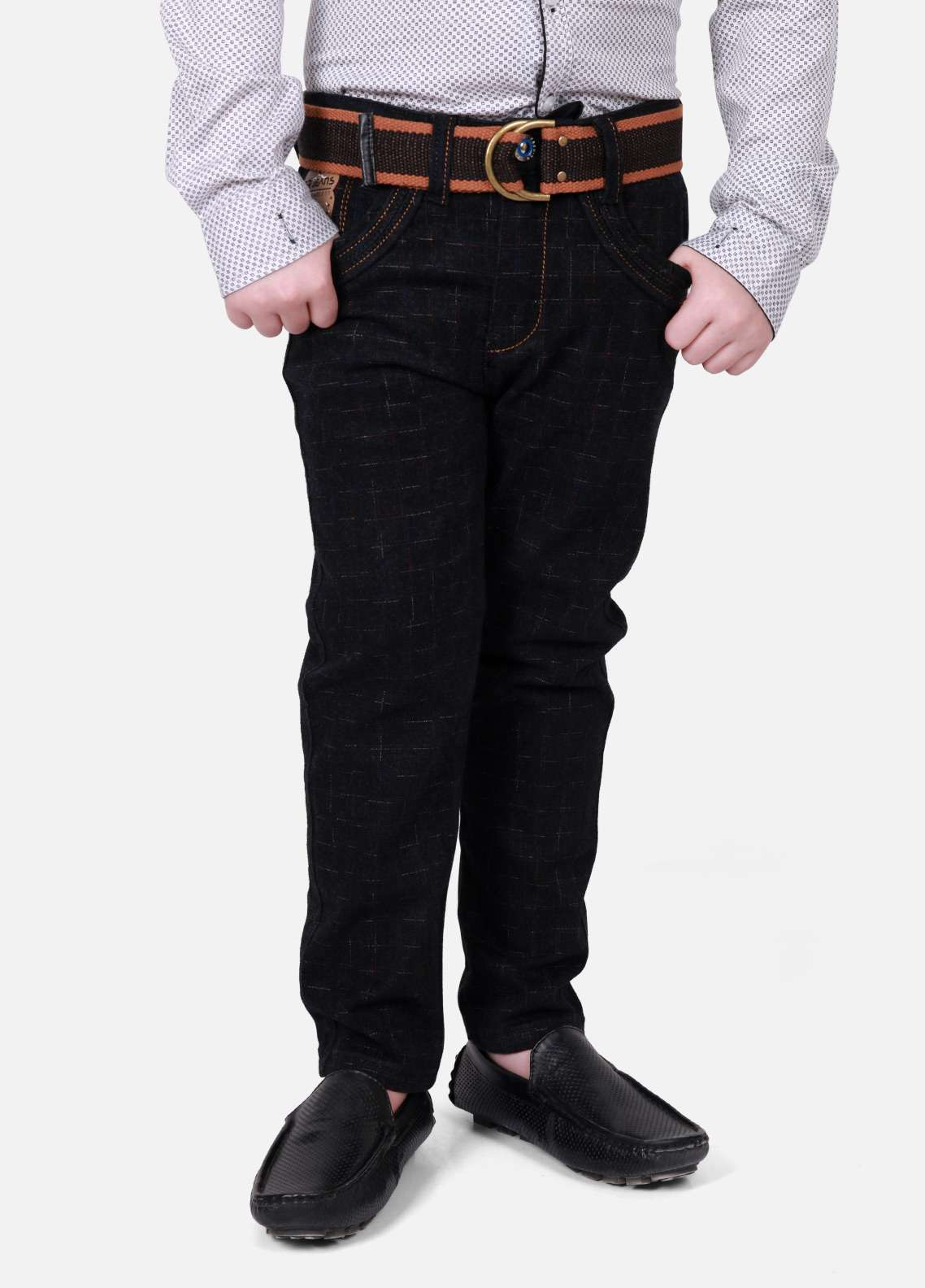 Edenrobe Jeans Plain Texture Pants for Boys - Brown EDK18P 5704
