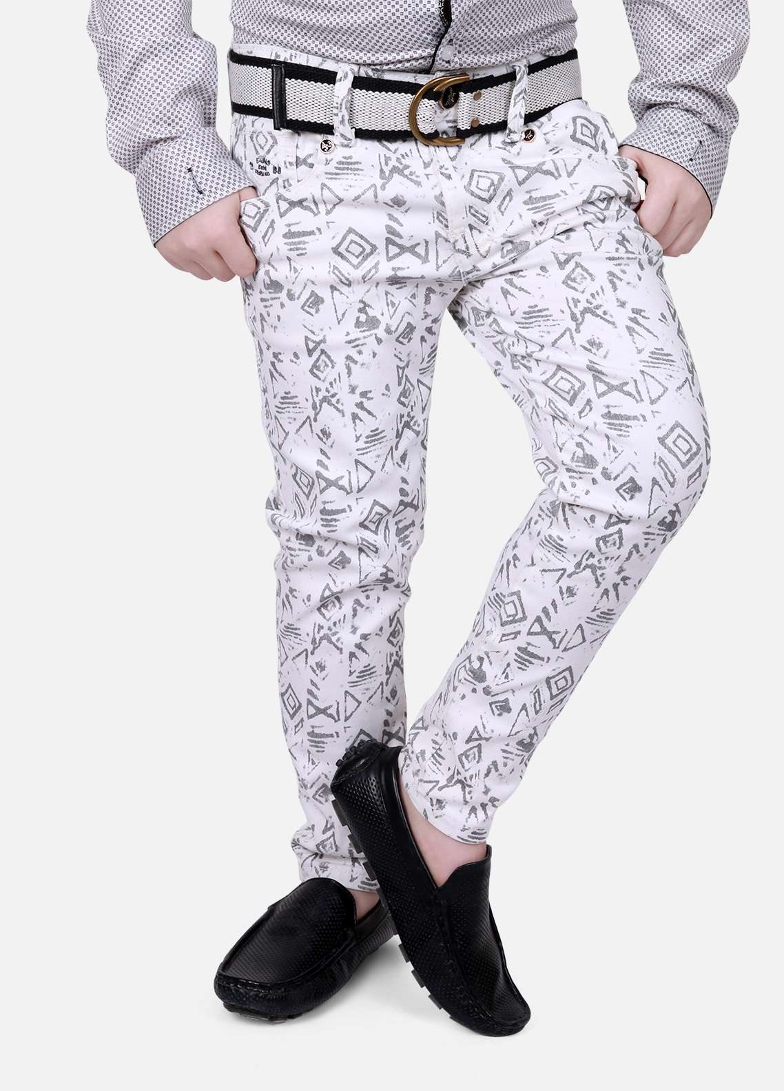 Edenrobe Cotton Printed Boys Pants - White EDK18P 5705