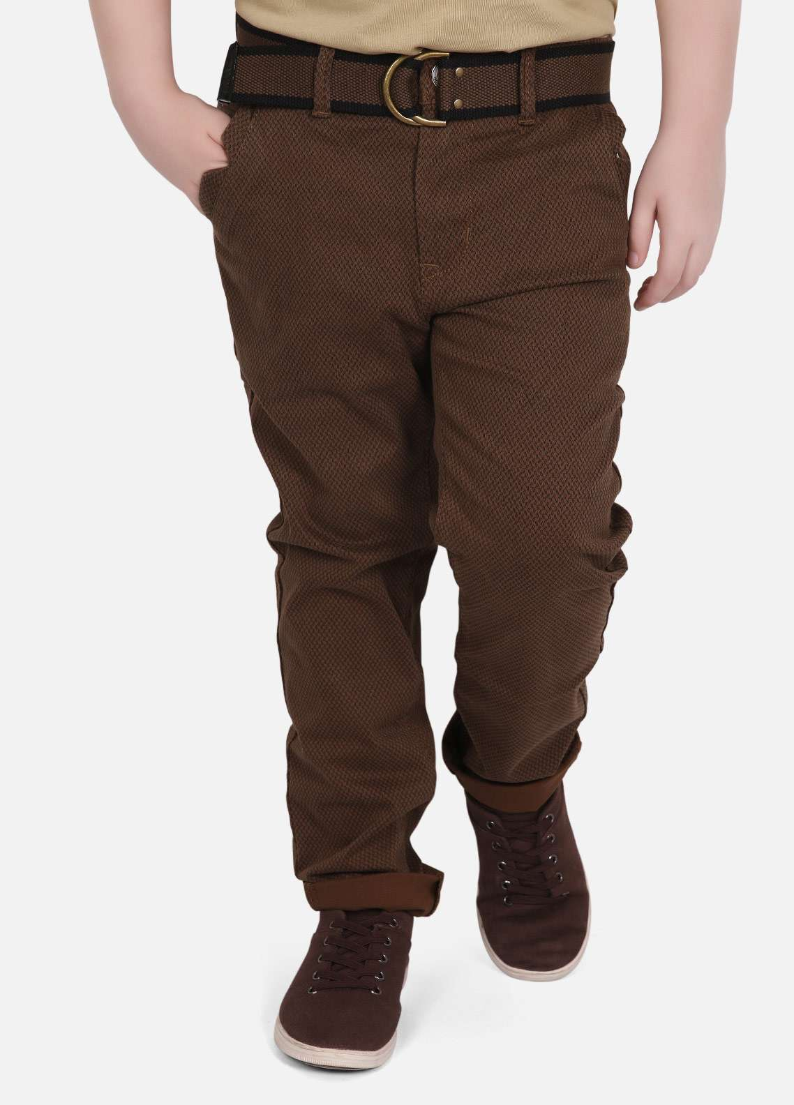 Edenrobe Jeans Plain Texture Boys Pants - Brown EDK18P 5715