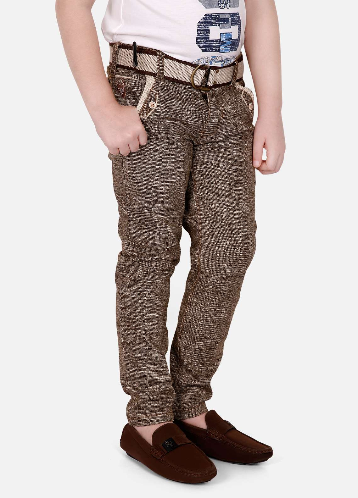 Edenrobe Cotton Plain Texture Pants for Boys - Brown EDK18P 5718